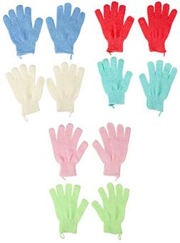 Exfoliating Gloves - 6-Pair Textured Bath Gloves for Exfolia