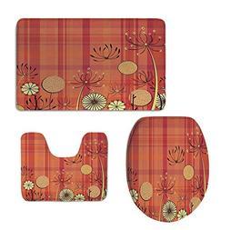 iPrint 3 Piece Extended Bath mat Set,Floral,Generic Umbellif