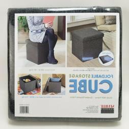 Foldable Storage Foot Stool Cube Ottoman, Dark Ash Grey