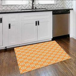 Durable Rug of Blooms with Abstract Diagonal Geometric Old F
