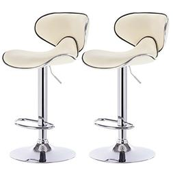 WOLTU Furniture Bar Stool Swivel Cream Bonded Leather Adjust