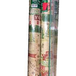 HOLLY JOLLY ~ KRAFT PAPER Christmas Gift Wrap ~ 100 Sq. Ft.