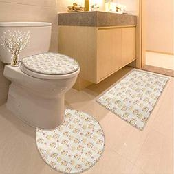 Anhuthree Kids Toilet Rug and mat Set Cows with Flowers on P