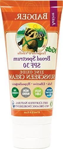 Badger - SPF 30 Kids Sunscreen Cream, Tangerine and Vanilla