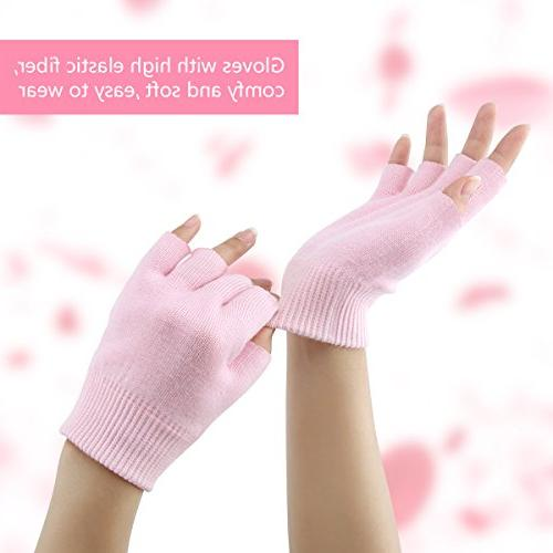 Codream Cotton Gloves and Socks Set Night Eczema Dry Cracked Hands Gel Lining Oils and Pink