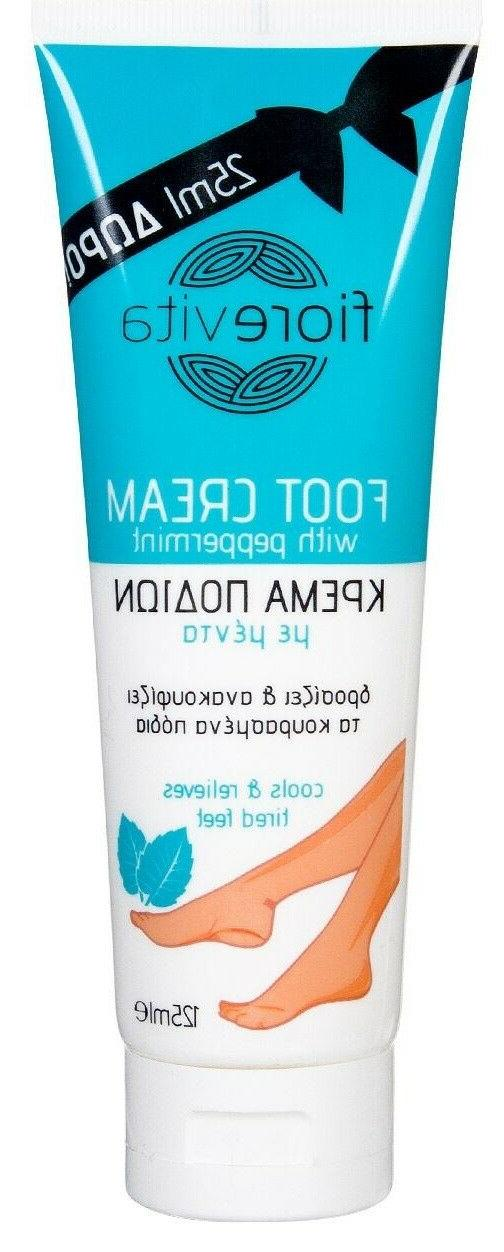 foot cream with peppermint cools relieves tired