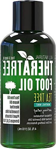 Foot Oil with Tea Tree Oil, Neem Oil, and Menthol Mint - Hel