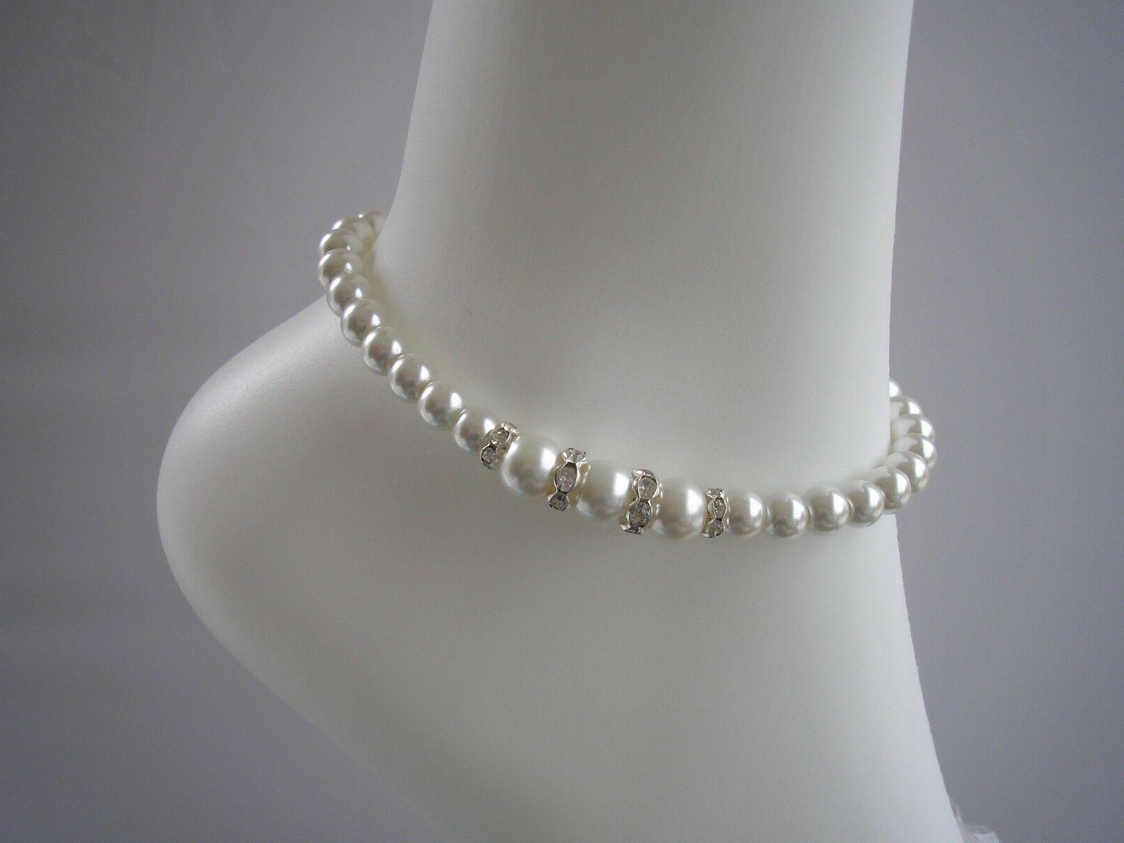 pearl and diamante anklet ankle bracelet