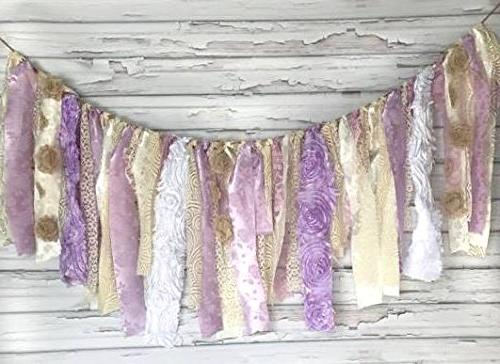 shabby chic purple cream garland