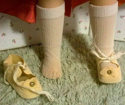 "VINTAGE CREAM SHOES-WHITE SOCKS fit P-91 w/2""X1"" FOOT"