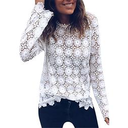 Charberry Womens Pure Color Lace Long Sleeve Top Patchwork S
