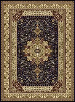 Large Luxury Silk Traditional Rug For Living Room Navy Red C