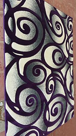 Modern Area Rug Purple & Grey 400,000 Point Swirl Design 341