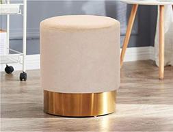 Living Express Modern Velvet Round Upholstered Ottoman Stool
