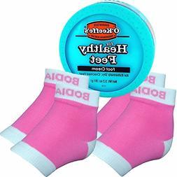 Bodiance Moisturizing Gel Heel Socks or Sleeves, 2 Pairs, Pi