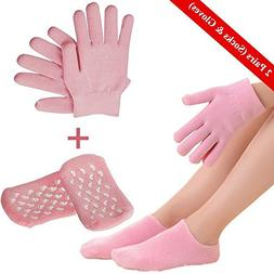 Moisturizing Gloves and Spa Socks, Soft Cotton Gel Moisture