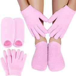 Bememo Moisturizing Spa Gel Gloves and Socks Set Dark Pink f