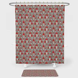 iPrint Mushroom Shower Curtain And Floor Mat Combination Set