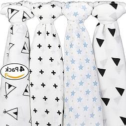Muslin Swaddle Blankets for Baby - 4 Blanket Set - Unisex Pa