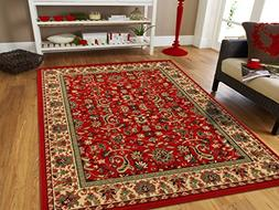 Large Oriental Rugs 2x3 Traditional Rugs Red Cream Green Per