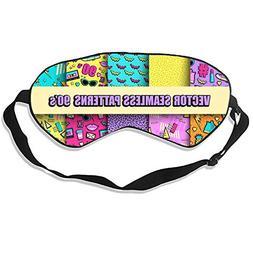 Unisex 90' Pattern Eye Mask Mulberry Silk Sleep Masks Soft B