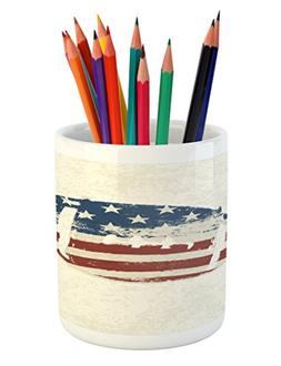 Ambesonne Sports Pencil Pen Holder, Grunge American Flag The