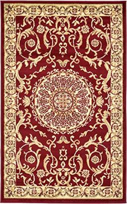 "Persian Traditional Design rugs, Red 3' 3"" x 5' - Feet Tiba"