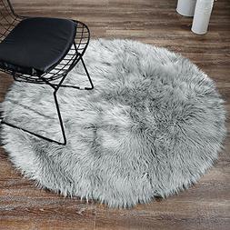 LEEVAN Plush Sheepskin Style Throw Rug Faux Fur Elegant Chic