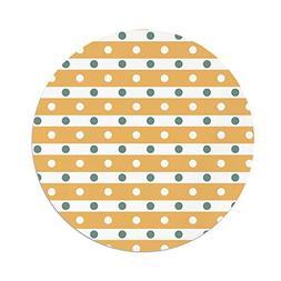 iPrint Polyester Round Tablecloth,Yellow White,Horizontal Bo