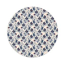 Polyester Round Tablecloth,Floral,Classic Flowers with Vivid