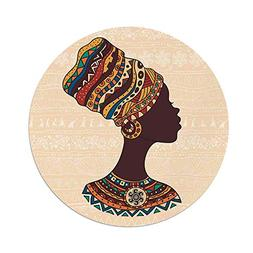 iPrint Polyester Round Tablecloth,Tribal Decor,African Woman