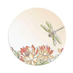 iPrint Polyester Round Tablecloth,Dragonfly,Lotus Flower Fie