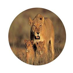 Polyester Round Tablecloth,Safari Decor,Mom Lioness and Youn