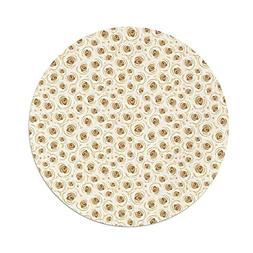 iPrint Polyester Round Tablecloth,Ivory,Romantic Rose Petal