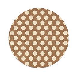 iPrint Polyester Round Tablecloth,Tan,Big Polka Dots on Grun