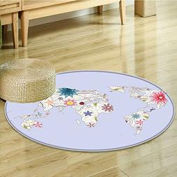 Small round rug Carpet PlayroomStyle Map with Soft Pastel To