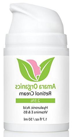 Amara Organics Retinol Cream for Face 2.5% with Hyaluronic A