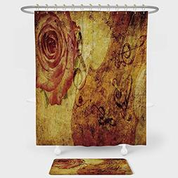 Roses Decorations Shower Curtain And Floor Mat Combination S