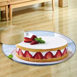 Round Area Rug sponge cake with strawberries and vanilla cr