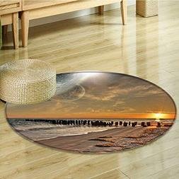 Round Area Rug Carpet Magical Solar Eclipse on with Horizon