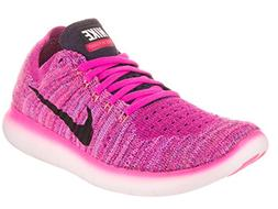 Nike Women's Free Running Motion Flyknit Shoes, Fire Pink/Bl