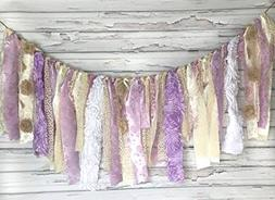 Shabby Chic Purple & Cream Garland Rag Tie Banner ~ Photo Sh