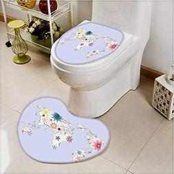 aolankaili 2 Piece Shower Mat Set PlayroomStyle Map with Sof