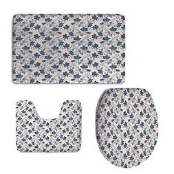 3 Piece Shower Mat Set,Floral,Classic Flowers Vivid Blooms V