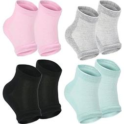 Bememo Soft Gel Heel Socks Ventilate Open Toe Socks 4 Pairs