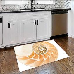 Soft Non Slip Absorbent Bath Rugs Nautilus Shell Showing the