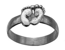 solid sterling silver 925 ring baby feet