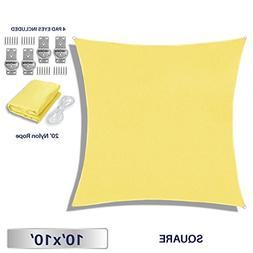 Windscreen4less Sun Shade Sail Canary Yellow 10' x 10' Squar