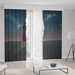Surrealistic Blackout Curtains,Barefoot Woman Looking beyond