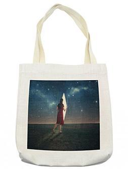 Lunarable Surrealistic Tote Bag, Barefoot Woman Looking beyo